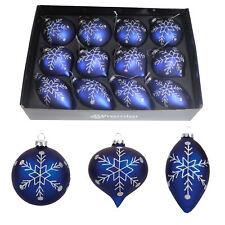 Box mit 12 Luxus Glas Weihnachtsbaum Kugeln - Blau mit Silber