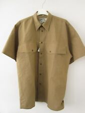 YES 60 Linen 40 Cotton Mens Short Sleeve Khaki Casual Shirt Size Large L NWT