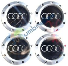 X 4 AUDI NERO 146mm CENTRO RUOTA hub caps badge A3 A4 A6 S6 RS6 TT, 8D0601165K