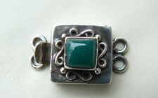 """Green Aventurine  Sterling Silver Box Clasp Double Strand Natural Gem 1"""" long"""