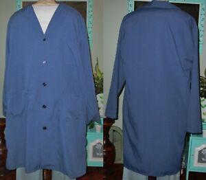 "Best Medical L/S Men Lab Coat Button 3 Pocket 42"" Length Sz XXS - 6X Navy"