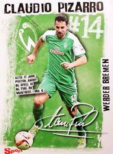 Claudio Pizarro Autogrammkarte AK im Werder Bremen Trikot NEU!