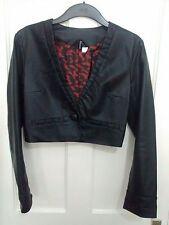 H&M Ladies Black Faux Leather Jacket Size 6-8 VGC
