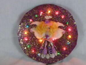 Vtg Handmade Beaded Angel Tree Topper Lighted Purple W/ Sparkles Kitschy CUTE!