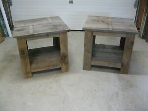 Set -2 Rustic Farmhouse  End Table  Reclaimed Wood Living Room Furniture