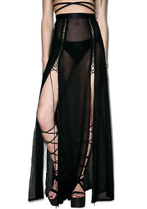 WIDOW CULT MAXI SHEER SKIRT GOTHIC WITCH DOMINATRIX LONG BLACK SEXY