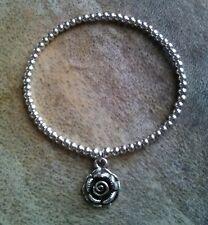 Simple Silver Ball Beaded Love Rose Peace Flower Charm Surfer Stretchy Bracelet