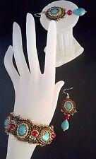 Set-Stickerei-Armband+Ohrringe 925 Silber -Edelsteine Howlith Türkis, Jade Rot