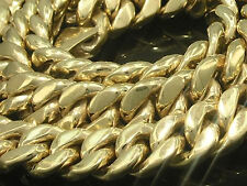 """N019 - Genuine 9ct SOLID Yellow GOLD Curblink Chain-THICK-HEAVY-CHUNKY - 21"""""""