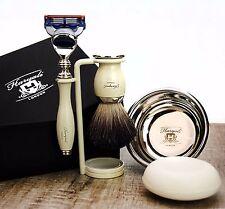 Complete 5 Piece Shaving Set/Kit ft Gillette Fusion & Pure Black Badger Brush