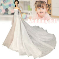 White 11.5 Inches High Fashion Wedding Dress for Doll Clothes Party Gown Toy
