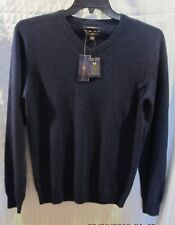CHARTER CLUB NAVY V-NECK 100% CASHMERE SWEATER SZ S NWTGS $195 RETAIL