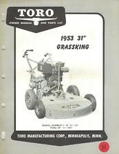 "Toro Vintage 31"" Grassking Mower Operator'S & Parts Manual 1953"