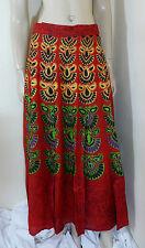 Indian Wraparound Skirt Sarong Red One Size Beach Wear Boho Chic