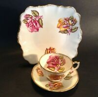 Roslyn Cup Saucer & Square Handled Dessert Plate - Pink & Yellow Roses - England