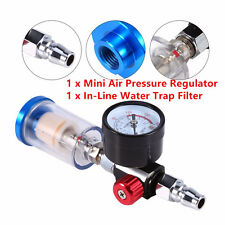 Spray Gun Air Pressure Regulator Pressure Gauge 0-180Psi & In-Line Water Tools