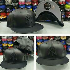 Exclusive New Era MLB New York Yankee 9Fifty Black Faux Leather snapback Hat