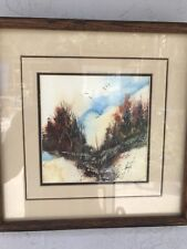 """2 TWO MIKE OYENARTE WATER COLOR 13+X13+"""" WOOD FRAME UNDER GLASS GAINESVILLE FL"""