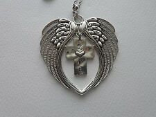 ANGEL WINGS LOVE CROSS SUNCATCHER CAR REAR VIEW MIRROR CHARM ORNAMENT MOBILE