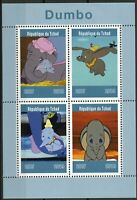 Chad 2019 MNH Dumbo 4v M/S Elephants Disney Cartoons Animation Stamps