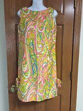 Vtg 60s David Crystal Shift Dress Lilly Pulitzer Yellow Pink Blue Green S M 6 8?