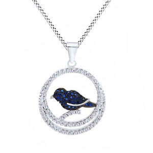 14K White Gold Over Silver Round Cut Blue Sapphire & Simulated Sparrow Pendant