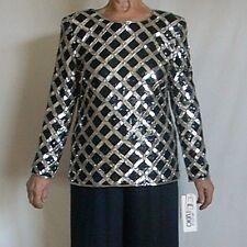 Joan Leslie Studio Sz L Black & Silver lattice design L/S sequined Tunic Top New