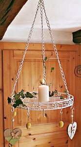 ❀ Küchenkrone Weiß Rund Ø 30 cm - 60cm lang Eisen Wurstkrone Kräuterkrone 280FL2