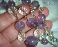 ART DECO VINTAGE AMETHYST GEM STONE CLEAR CRYSTAL BEADS NECKLACE FEBRUARY PISCES