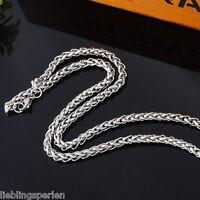 5 Herren Damen Edelstahl Zopfkette für Anhänger Halskette Collier Ø 4mm 57cm