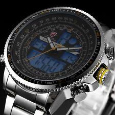 Winghead SHARK Mens Digital LCD Sport Yellow Stopwatch Stainless Steel Watch