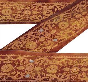 "Sanskriti Vintage 3.2""W Sari Border Hand Embroidered  Trim Craft Brown Lace"
