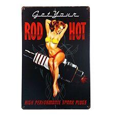 Hot Rod Spark Plug Distress Retro Vintage Metal Gas Tin Sign Man Cave Garage New