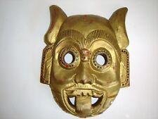Vintage Wooden Mask Gold Jeweled Wood Carved Mask With Horns Mask Art Spiratual