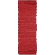Hand-woven Matador Red Leather Runner Rug (2'6 x 12')