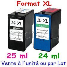 Cartouches d'encre compatibles imprimantes Lexmark 14XL 15XL : Noir / Couleurs