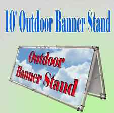 10'x4' Aluminum Outdoor A Frame Banner Double Display Stand Portable Lightweight
