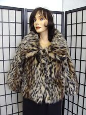 MINT SPOTTED FAUX FAKE FUR JACKET COAT WOMEN SIZE 6 SMALL
