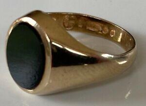 Men's Boys Gents Vintage 9ct Gold ONYX Signet Ring UK hallmarked Ladies Unisex