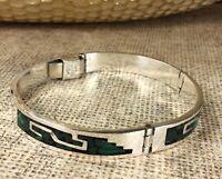 Vintage Mexico 925 Sterling Silver Malachite Gemstone Bracelet Fine Jewelry