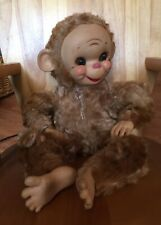 "1950""s Vtg 16""  RUSHTON Monkey Smiling Happy Rubber Face Stuffed Animal"