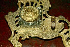 Metallic Brass Finish Desk Top  Pen Holder & Glass Inkwell