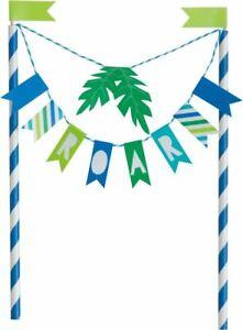 Blue & Green Dinosaur Bunting Cake Topper Birthday Party Celebrations Decoration