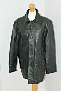 Vintage Mens GAP Heavy Black Leather Button Up Jacket Coat Size M Medium