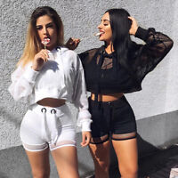 Sexy Women Hoodie Sweatshirt Jumper Sweater Crop Top Coat Sports Pullover Tops B