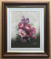 Original Floral Art Oil On Canvas Painting Still Life Pink Flowers Signed