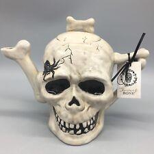 Blue Sky Clayworks Teapot Skull Bones Spider Gray Heather Goldminc Halloween NEW