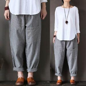 UK Women Oversized Striped Elastic Waist Harem Pants Loose Casual Baggy Trousers