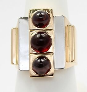 18k Two-Toned Gold Mens Three Stone Garnet Ring