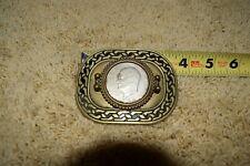 beltbuckle 1972 silver dollar half solid brass  baron
